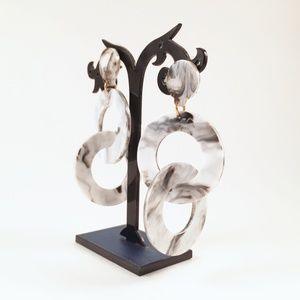 New Acrylic Dangle Hoop Earrings Gray White Posts